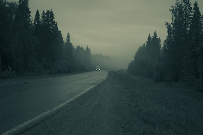 Road on fog