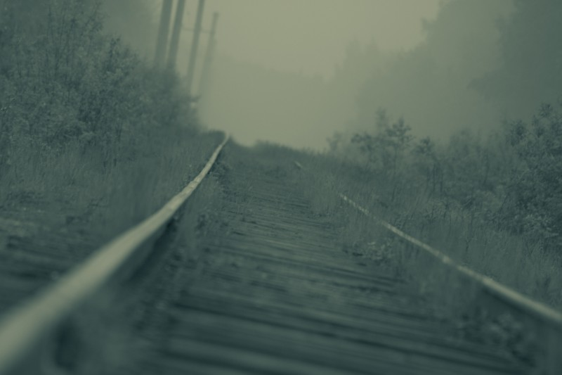 Railway on fog